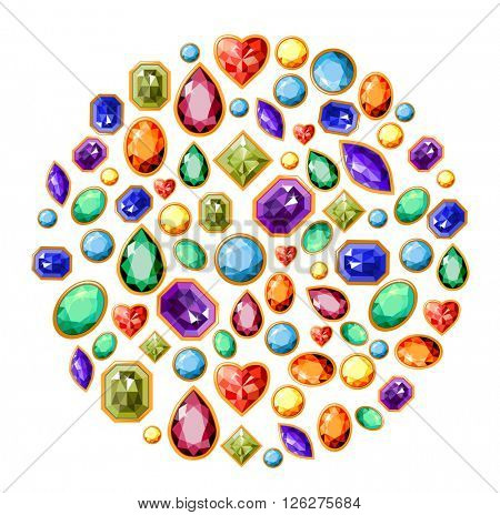 Circle made of  different jewels isolated on white. Symbol for your design