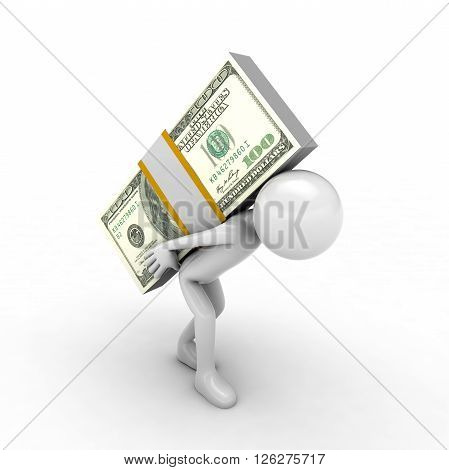 Carrying stack of new Canadian Dollar bills. Isolated on white.