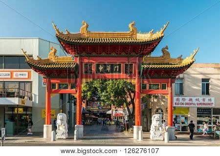 Adelaide Australia - January 3 2016: Main entrance to the Chinatown on Gouger Street on a bright day