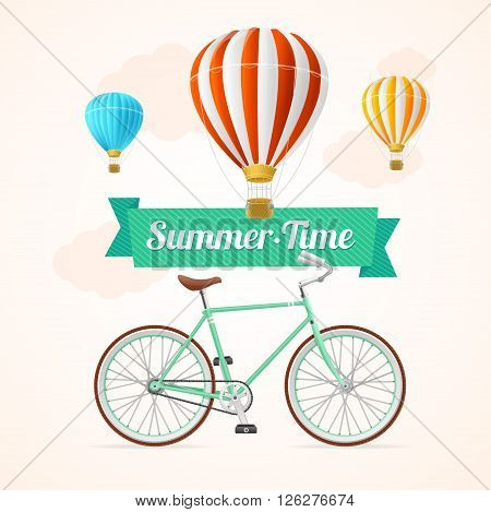 Summer Card with Hot Air Balloons and Bike on a White Background. Vector illustration