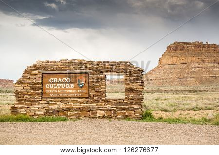 Chaco Culture National Historical Park Welcomig Sign