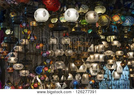 a chandelier made for sale in the Grand Bazaar.