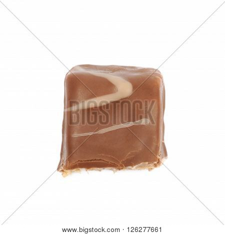 Bitten chocolate candy bar isolated over the white background
