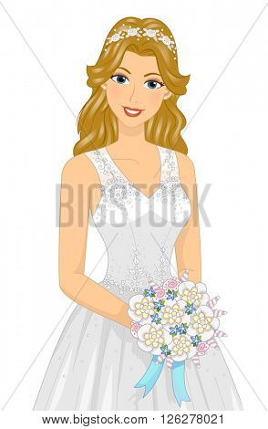Illustration of a Lovely Bride Wearing a Gown Decorated with Shells