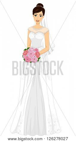Illustration of a Lovely Bride in a Minimalist Gown