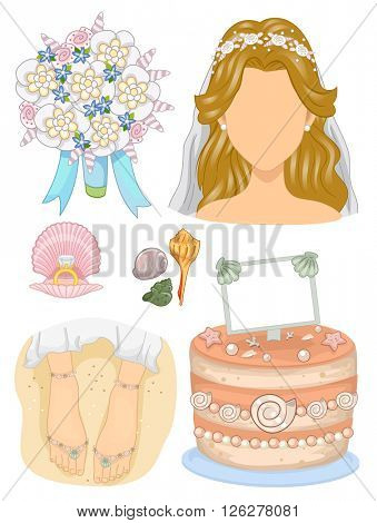 Illustration Featuring Wedding Related Elements