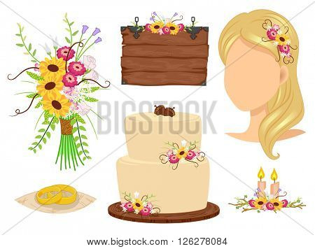 Illustration of Elements Related to a Rustic Wedding