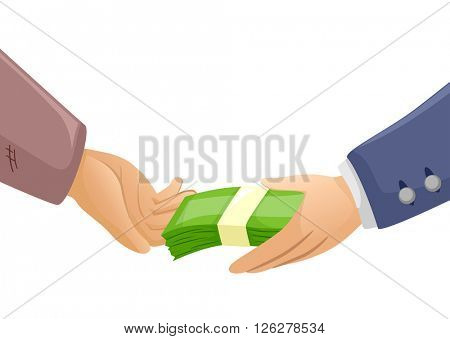 Illustration of a Rich Man Handing Money to a Poor Guy