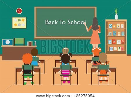 Back to School. Classroom Interior with little students and teacher green blackboard table and chair Education Concept Vector illustration.