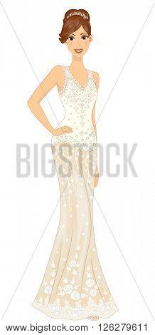 Illustration of a Lovely Bride Striking a Pose