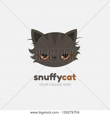 Snuffy cat logo template. Cats head symbol. Vector illustration.