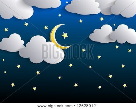 Illustration of The moon and stars in night sky