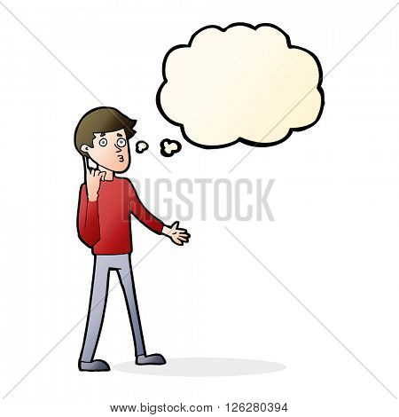 cartoon man asking question with thought bubble