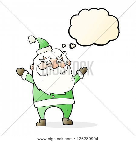 cartoon happy santa claus with thought bubble