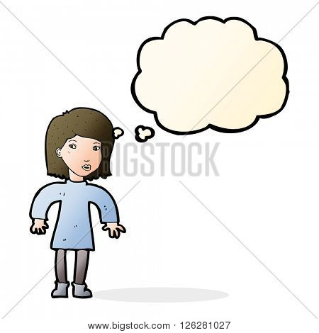 cartoon cautious woman with thought bubble