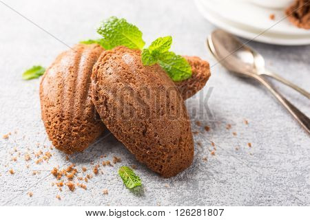 Homemade chocolate cookies Madeleine with mint. Holidays food.