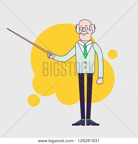 Old professor is showing something by pointer. Senior scientist or teacher character. Linear flat design