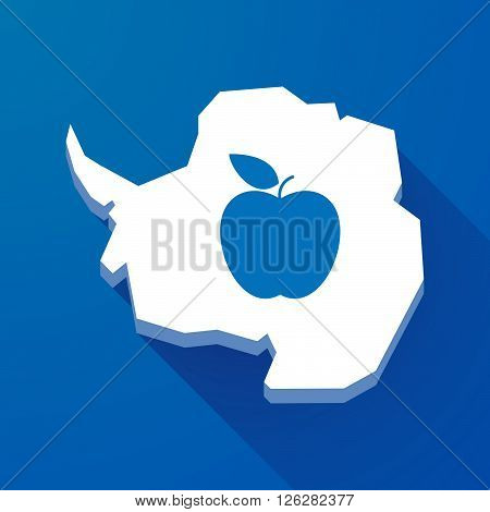 Long Shadow Map Of Antarctica Continent With An Apple