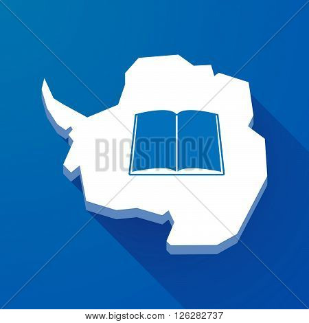 Long Shadow Map Of Antarctica Continent With A Book