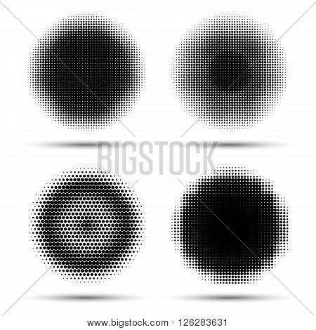 Set of four abstract halftone design elements. Illustration circle logo
