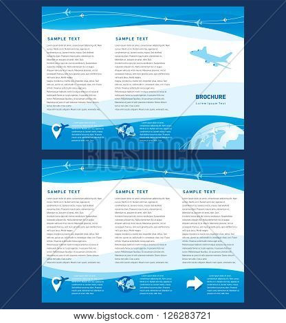 Vector brochure tri-fold layout design template airplane takeoff flight tickets air fly cloud sky blue white color travel background
