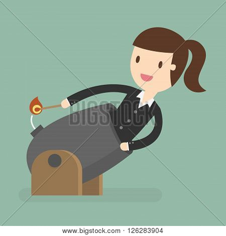 Business Woman Cannonball. Leadership Concept. Business Concept Cartoon Illustration.