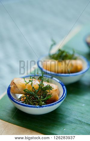 Canape With Fried Spring Rolls