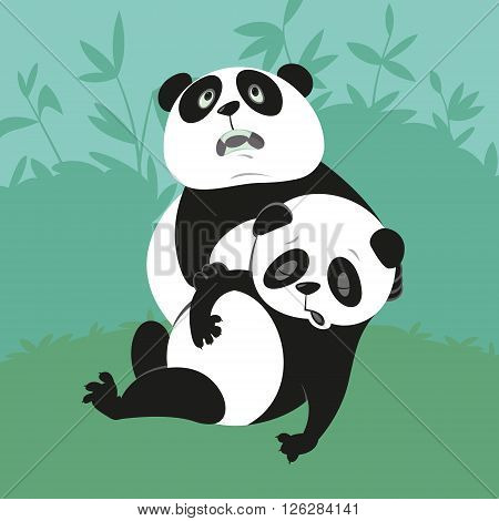 Giant Panda with a dying friend illustration of endangered animals