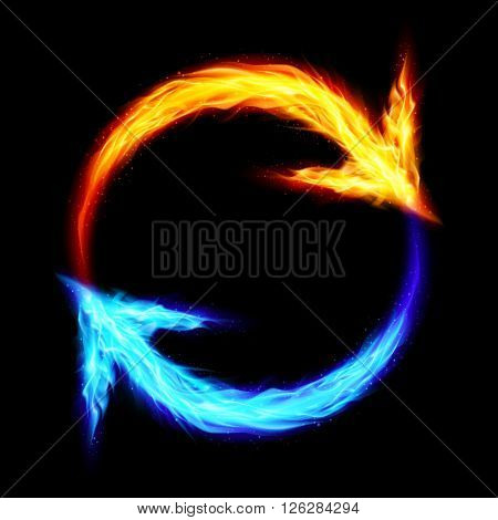 Orange and blue fire circular arrows on black background