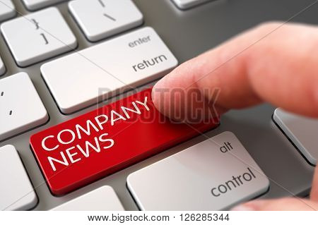 Hand of Young Man on Company News Red Button. Computer User Presses Company News Red Keypad. Hand using Aluminum Keyboard with Company News Red Key, Finger, Laptop. 3D.