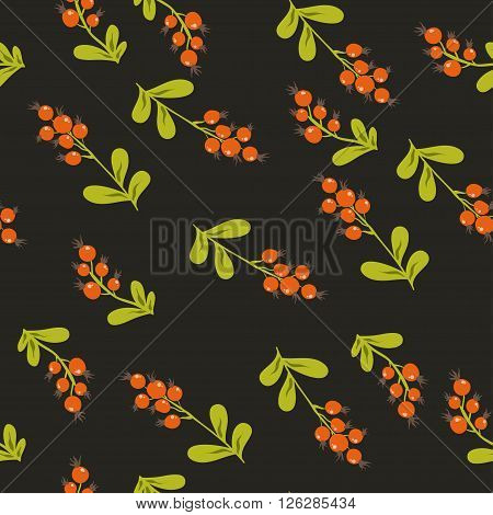 Forest berries. floral seamless pattern with hand painted red berries