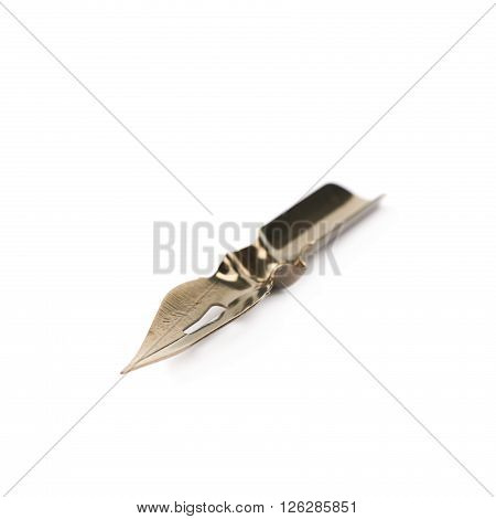 Metal dip nib pen tip isolated over the white background