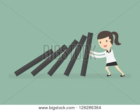 domino effect and problem solving. Business Concept Cartoon Illustration.