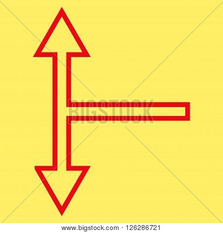 Bifurcation Arrow Up Down vector icon. Style is thin line icon symbol, red color, yellow background.