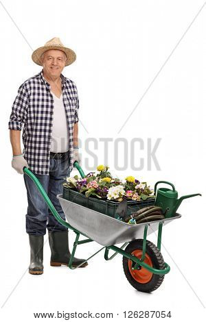 Full length portrait of a mature man pushing a wheelbarrow full of gardening equipment and flowers isolated on white background