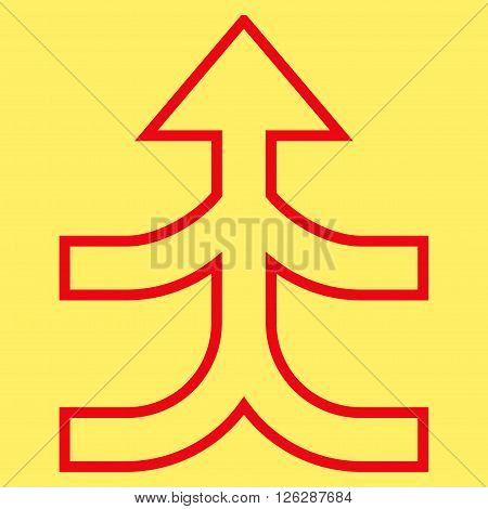 Combine Arrow Up vector icon. Style is thin line icon symbol, red color, yellow background.