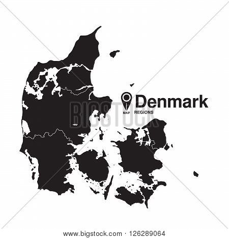 Denmark region map. vector map silhouette of Denmark