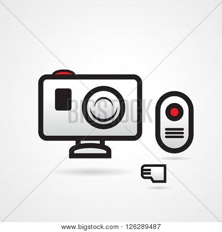 action video camera icons set black and white