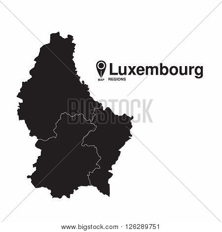 Luxembourg map regions. vector map silhouette of Luxembourg