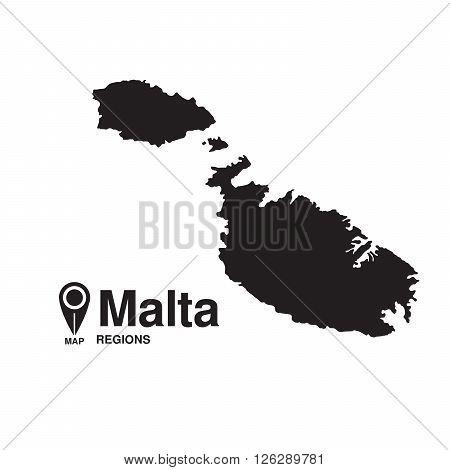 Malta map regions. vector map silhouette of Malta