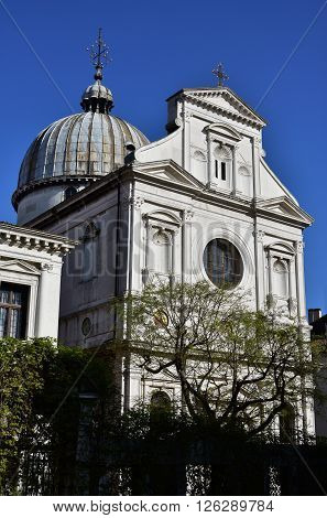 Renaissance facade and byzantine style dome of orthodox church St George of the Greek