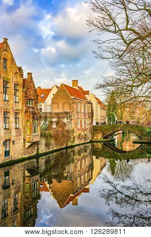View From Meestraat Bridge On Groenerei Canal, Bruges, Belgium