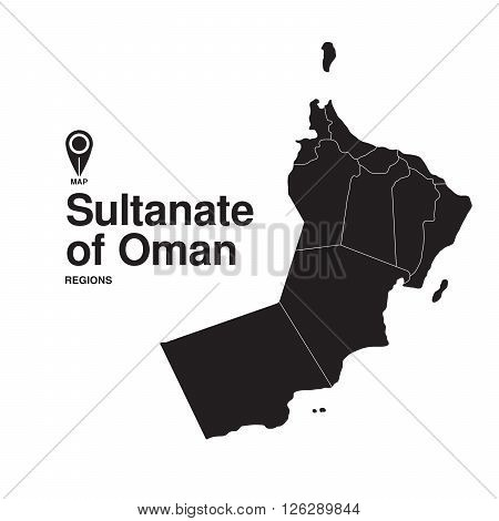 Oman map regions. vector map silhouette of Oman