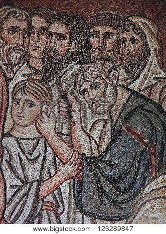 Byzantine Mosaic  In Daphni Monastery, Athens, Greece