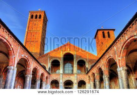 Veiw of the Basilica di Sant'Ambrogio in Milan