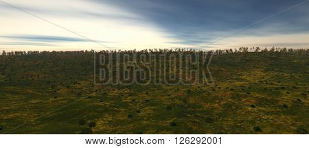 view of the valley in autumn. The forest on the horizon. The ground is covered with lots of grass and trees on the horizon. 3D rendering, 3D illustration