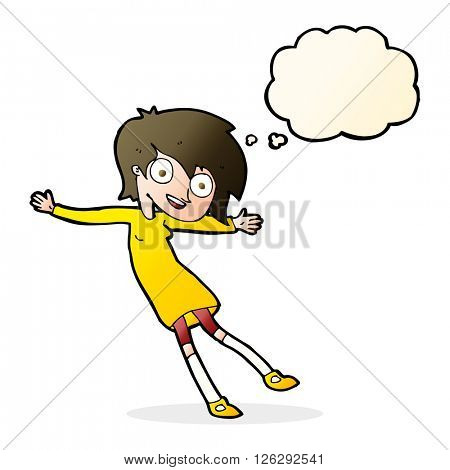 cartoon crazy excited girl with thought bubble