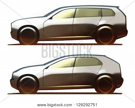 Car body full-size SUV and crossover on white background