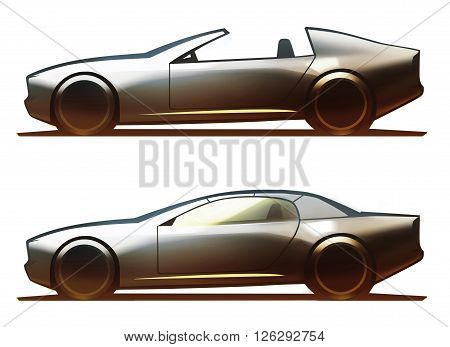 Car body targa and coupe-cabriolet isolated on white background