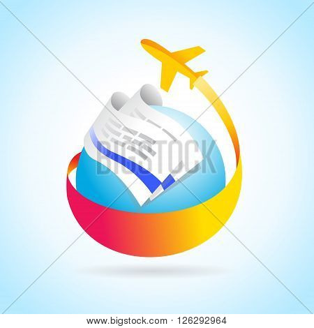 airplane flight air fly travel takeoff blue globe tickets element